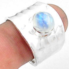 3.41cts natural rainbow moonstone 925 silver solitaire ring size 8.5 p74860