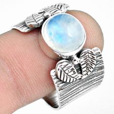 5.08cts natural rainbow moonstone 925 silver solitaire ring size 9.5 p77177