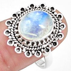 4.93cts natural rainbow moonstone 925 silver solitaire ring size 8.5 p78847