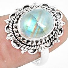 4.93cts natural rainbow moonstone 925 silver solitaire ring size 7.5 p78848