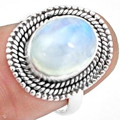 5.16cts natural rainbow moonstone 925 silver solitaire ring size 6.5 p78851