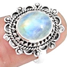 4.93cts natural rainbow moonstone 925 silver solitaire ring size 7 p78858
