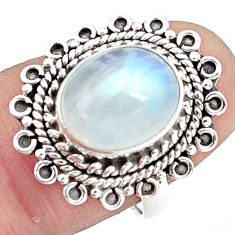 5.38cts natural rainbow moonstone 925 silver solitaire ring size 7.5 p78859