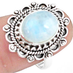 5.16cts natural rainbow moonstone 925 silver solitaire ring size 7 p78874