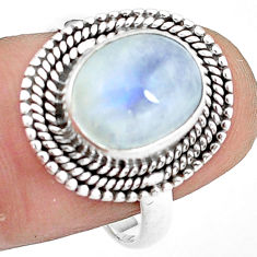 4.93cts natural rainbow moonstone 925 silver solitaire ring size 8.5 p78877
