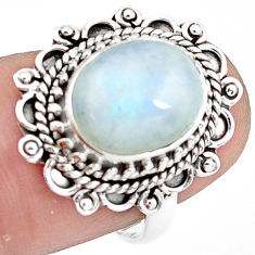5.16cts natural rainbow moonstone 925 silver solitaire ring size 7 p78879