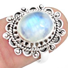4.80cts natural rainbow moonstone 925 silver solitaire ring size 7 p78881