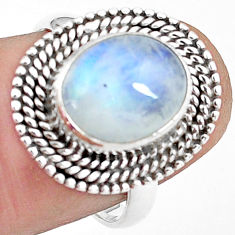 5.11cts natural rainbow moonstone 925 silver solitaire ring size 7 p78883