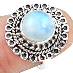 4.93cts natural rainbow moonstone 925 silver solitaire ring size 7 p78890