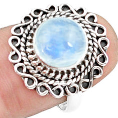 4.93cts natural rainbow moonstone 925 silver solitaire ring size 7.5 p78894