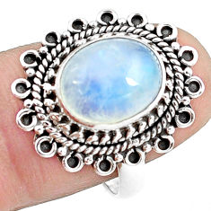 4.94cts natural rainbow moonstone 925 silver solitaire ring size 7.5 p78895