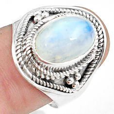 4.21cts natural rainbow moonstone 925 silver solitaire ring size 8.5 p78917