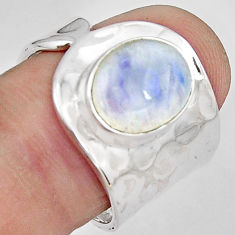 5.13cts natural rainbow moonstone 925 silver solitaire ring size 7.5 p89421