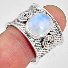 5.35cts natural rainbow moonstone 925 silver solitaire ring size 8.5 p89435