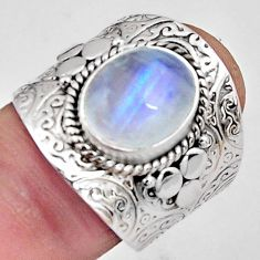 5.18cts natural rainbow moonstone 925 silver solitaire ring size 7.5 p89442