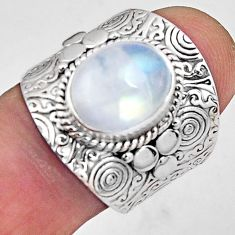 5.18cts natural rainbow moonstone 925 silver solitaire ring size 7.5 p89451