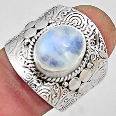 5.34cts natural rainbow moonstone 925 silver solitaire ring size 8 p89455