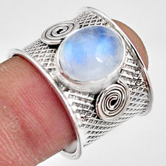5.01cts natural rainbow moonstone 925 silver solitaire ring size 7.5 p91081