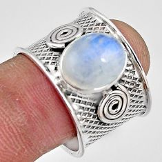 5.51cts natural rainbow moonstone 925 silver solitaire ring size 8.5 p91083