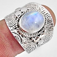 5.30cts natural rainbow moonstone 925 silver solitaire ring size 8 p91086