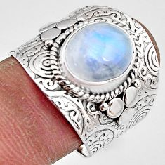 5.35cts natural rainbow moonstone 925 silver solitaire ring size 8.5 p91088