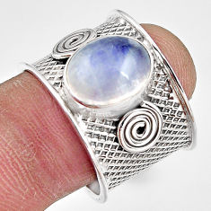 5.30cts natural rainbow moonstone 925 silver solitaire ring size 8.5 p91118
