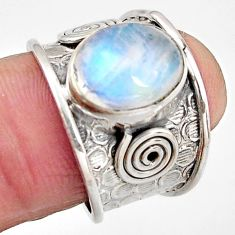 5.38cts natural rainbow moonstone 925 silver solitaire ring size 7 p91213