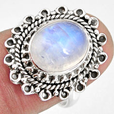 5.14cts natural rainbow moonstone 925 silver solitaire ring size 7 p92263