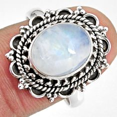5.38cts natural rainbow moonstone 925 silver solitaire ring size 8.5 p92266