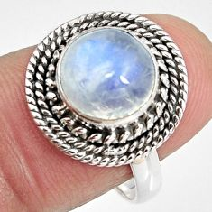 4.69cts natural rainbow moonstone 925 silver solitaire ring size 8 p92269