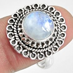 4.69cts natural rainbow moonstone 925 silver solitaire ring size 8.5 p92270