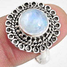 4.92cts natural rainbow moonstone 925 silver solitaire ring size 8.5 p92277