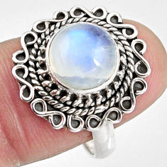 4.92cts natural rainbow moonstone 925 silver solitaire ring size 8 p92280
