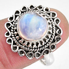4.69cts natural rainbow moonstone 925 silver solitaire ring size 8 p92281