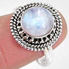 4.93cts natural rainbow moonstone 925 silver solitaire ring size 8.5 p92283