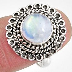 4.70cts natural rainbow moonstone 925 silver solitaire ring size 7 p92285
