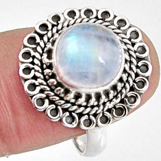4.87cts natural rainbow moonstone 925 silver solitaire ring size 8 p92287