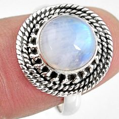 4.93cts natural rainbow moonstone 925 silver solitaire ring size 7 p92290