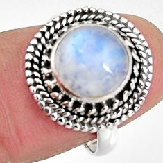 4.84cts natural rainbow moonstone 925 silver solitaire ring size 7 p92291