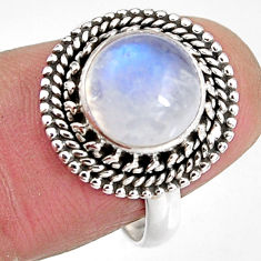 5.04cts natural rainbow moonstone 925 silver solitaire ring size 7.5 p92292