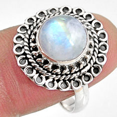 4.87cts natural rainbow moonstone 925 silver solitaire ring size 8.5 p92294