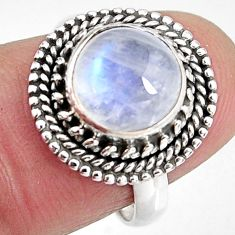 4.70cts natural rainbow moonstone 925 silver solitaire ring size 7 p92298