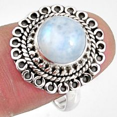4.70cts natural rainbow moonstone 925 silver solitaire ring size 8.5 p92299