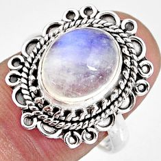 5.16cts natural rainbow moonstone 925 silver solitaire ring size 8 p92321