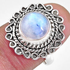 4.69cts natural rainbow moonstone 925 silver solitaire ring size 6.5 p92341