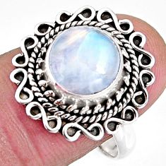 4.68cts natural rainbow moonstone 925 silver solitaire ring size 8.5 p92555