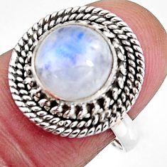 4.42cts natural rainbow moonstone 925 silver solitaire ring size 7 p92557