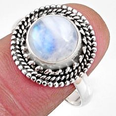 4.66cts natural rainbow moonstone 925 silver solitaire ring size 8.5 p92559