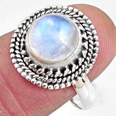 4.69cts natural rainbow moonstone 925 silver solitaire ring size 8.5 p92560