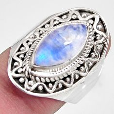 6.80cts natural rainbow moonstone 925 silver solitaire ring size 8 p92658